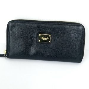 Kenneth Cole Black Soft Pebbled Leather Zip Wallet